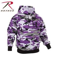 Ultra Violet Purple Camo Pullover Hooded Sweatshirt | 4790