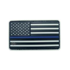 PVC MORALE PATCH - GREY W/ BLUE STRIPE