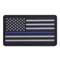 PVC Thin Blue Line Flag Patch | Velcro