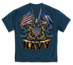 US NAVY T-SHIRT | DOUBLE FLAG EAGLE NAVY SHIELD | NAVY BLUE