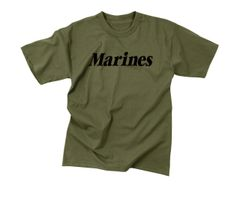 Kids Olive Drab Military Physical Training T-Shirt | Marines | 66157