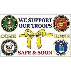 SUPPORT OUR TROOPS / COME HOME SAFE FLAG