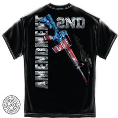 AR15 Second Amendment Flag Black T-Shirt