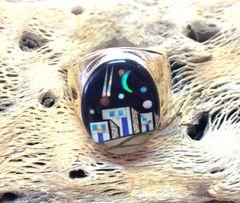 14K Gold Pueblo Ring Multi Color.
