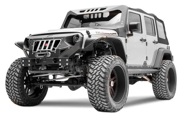 Fab Fours Black Front Grumper For 07 17 Jeep Wrangler Jk