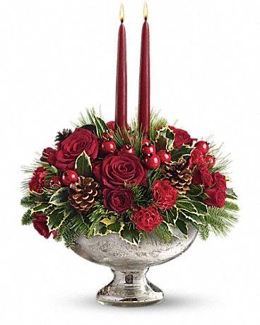 Teleflora's Mercury Glass Bowl Bouquet