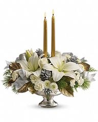 Teleflora's Silver And Gold Centerpiece