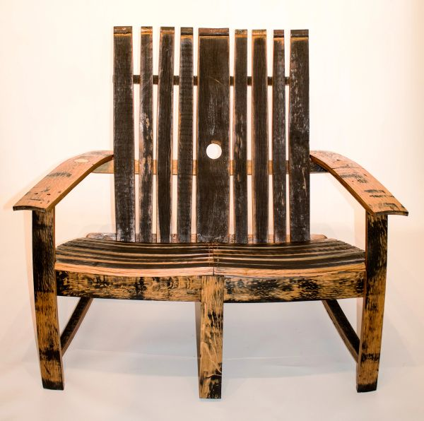 Oak, Whisky Barrel 2 seat Adirondack Garden Chair/Bench | Beespoke ...