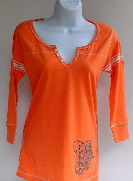Women's Orange Peasant Top