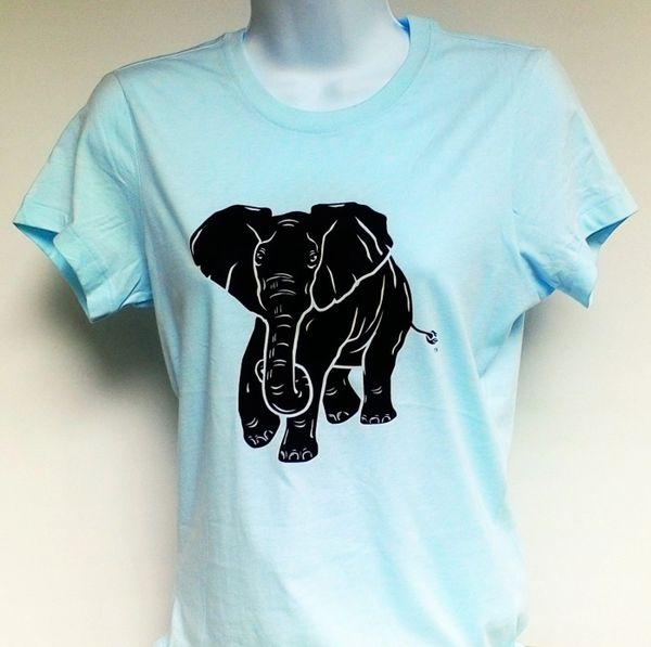 Women's Light Aqua Elephant Tee