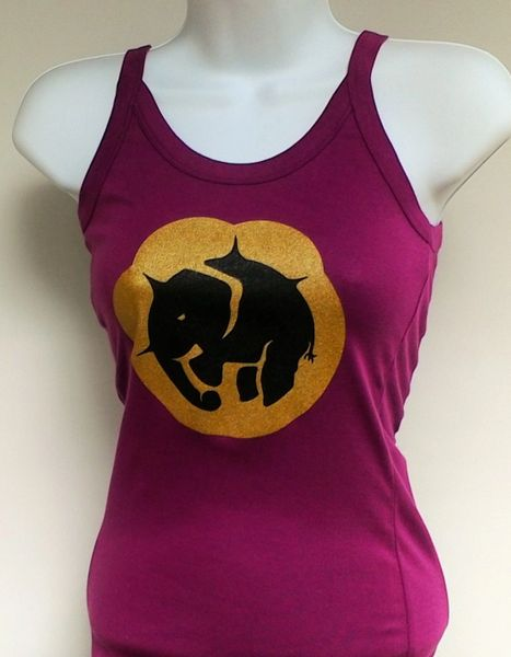 Women's Berry Color Paw Print Tank Top
