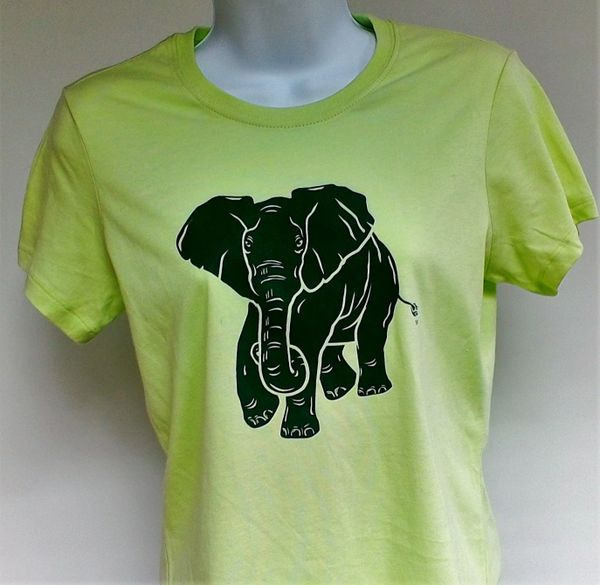 Women's Lime Green Elephant Tee