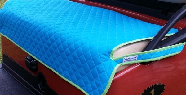 Turquoise Quilted Cart Seat Cover With Green Binding