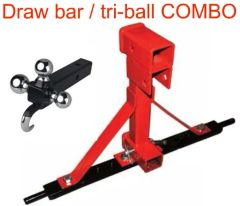 3 point hitch receiver draw bar with tri-ball / tow hook receiver COMBO, SAVE $50
