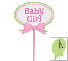 Baby Girl Wooden Pick - ADD TO CANDY BEAR BOUQUET