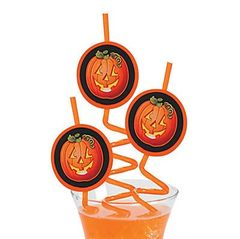 Jack-O-Lantern Pumpkin Straw - ADD TO CANDY BEAR BOUQUET