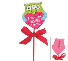 Love Monster Wooden Pick - ADD TO CANDY BEAR BOUQUET
