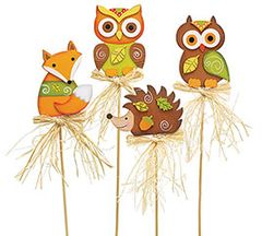 Owl, Fox, or Hedgehog Wood Pick - ADD TO CANDY BEAR BOUQUET