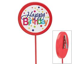 Happy Birthday Dots Wood Pick - ADD TO CANDY BEAR BOUQUET