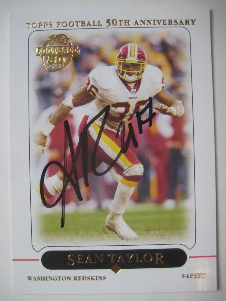 official photos 72285 f5723 Sean Taylor Autographed 2005 Topps 50th Anniversary Card #26 (Died 2007)