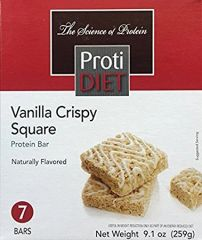 (354019) NEW!!! ProtiDiet Vanilla Crispy Square- (7/Box) =Alternative to Ideal Protein - Restricted - - - GLUTEN FREE!!