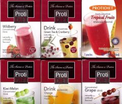 (kit2010) Protidiet Drink Concentrate Juice Variety Package(42 Pouches in Total) -- 6 Assorted Boxes