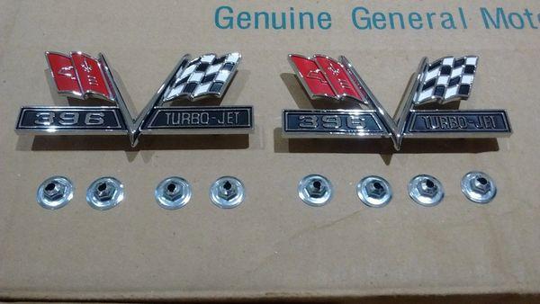 396 Turbo-Jet V-Flag Fender Emblem pair 65-67 Chevy Chevelle Camaro Impala