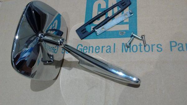 outside door square chevy side view mirror Chevelle Camaro Impala GM resto part