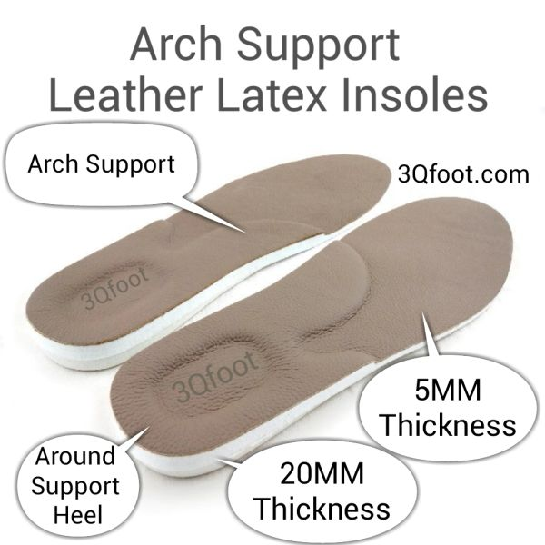 Arch Support Leather Latex Insoles Leather Shoe Insole 3qfoot