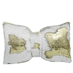 Beautiful Gold & White Two Tone Sequin Mermaid Bow Cushion