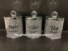 Crystal sparkle tea, coffee and sugar holders