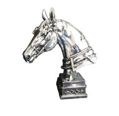 Beautiful Silver horse head decoration on stand