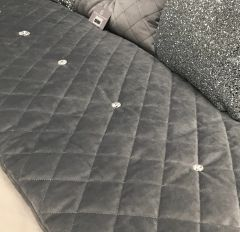 Simply stunning soft touch velvet quilted bed runner with Swarovski button detail -