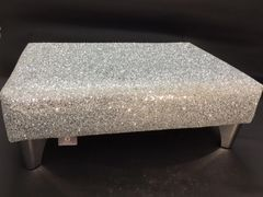 Luxury Silver Sparkle Glitter Footstool Medium