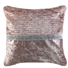 Beautiful 50x50 Blush Pink Crushed Velvet with Diamante Strip Cushion