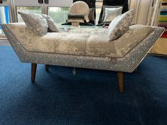 Beautiful silver crushed velvet and glitter chaise with cushion option