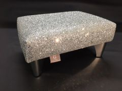 Luxury Silver Sparkle Glitter Footstool Small