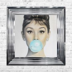 Audrey Bubblegum liquid art and crystal picture 55cm x 55cm with chrome frame