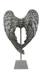 Beautiful Antique silver Angel wings on stand - 49.5cm