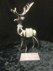 Stunning standing nickel silver crystal reindeer