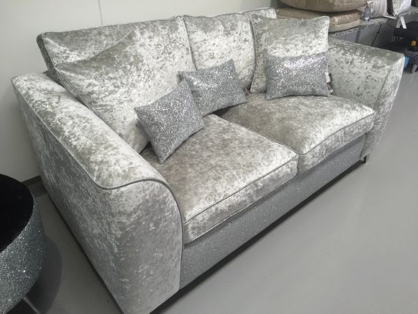 crushed velvet and silver disco glitter sofa the glitter furniture company. Black Bedroom Furniture Sets. Home Design Ideas