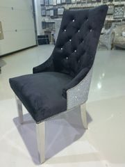 Stunning soft touch velvet glitter back dining chairs -colour options