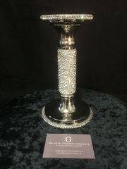 Beautiful sparkle nickle diamante crystal candle holder - medium