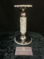 Beautiful sparkle nickle diamante crystal candle holder - medium