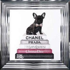 Stunning Frenchie bulldog on books - pink selection with crystal details 55cm x 55cm chrome frame picture