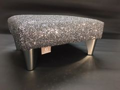 Luxury Grey Sparkle Glitter Footstool Small