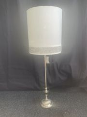 Beautiful silver lamp stand with white shade and crystal crackle detail - large