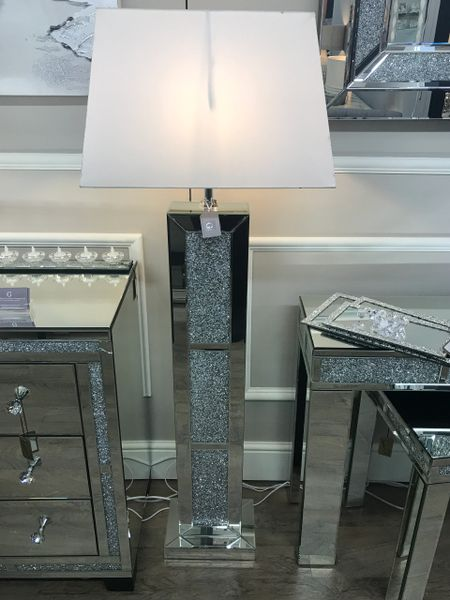 Stunning crystal crackle and mirror floor lamp - white shade   The ...