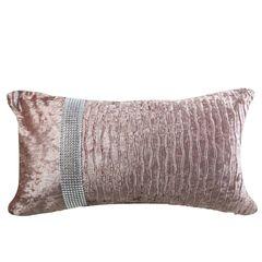 Gorgeous 30x50cm Blush Pink Crushed Velvet With Side Diamante Stripe Cushion