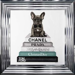 Stunning Frenchie Bulldog Teal collection with crystal detail - 55cm x 55cm chrome frame picture